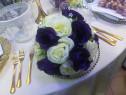 Aranjamente florale mov cu alb 6 bucati