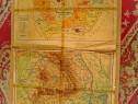 B182-Harta veche Republica Populara Romania hartie uzata.