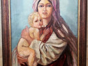 Maternitate Tablou vechi anii 30-40, pictura in ulei pânza