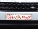 Număr auto nuntă personalizat cu numele mirilor