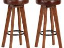 Scaune de bar, 2 buc., piele naturală & lemn 246260