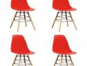 Scaune de bucătărie, 4 buc., roșu, plastic 248272
