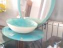 Mobilier albastru baie sticla