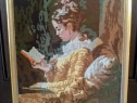 Tablou goblen cu femeie citind (dupa Jean-Honoré Fragonard)