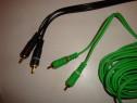 Cablu amplificator subwoofer 2x RCA la 2x RCA + remote ecran