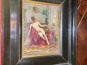 B884-Tablou interior camera cu nud de femeie ulei/placaj.