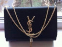 Geanta Ysl super model logo metalic auriu, saculet inclus