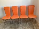 4 scaune imitație de piele portocalie