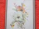 Tablou tema botanic cu panselute,made Germany,anii 50,rama