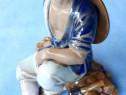 Figurina portelan,taietor de lemne,manual,10x6x8x9,China