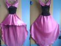Rochie din saten roz cu dantela neagra