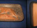 Scrumiera ceramica veche interbelica cu Tigru, semnata.