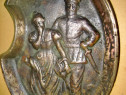 6305-Scrumiera veche Ofiter cu Doamna la plimbare bronzmasiv