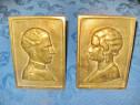 6541-Regii Leopold 2 si Regina SM Astrid Belgia 1900 bronz.