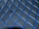 Material romb tapiterie negru / cusatura albastra