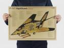 Poster vintage avion F-117 Nighthawk Lockheed hartie kraft