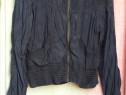 Jacheta usoara subtire gri inchis cu fermoar, buzunare