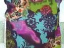Maieu print abstract in culori vii cu bretele, voal elastic