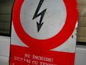 B132-Pericol electrocutare Reclama veche Romania metal email
