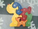Puzzle lemn catel pentru copii +2 ani