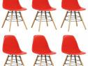 Scaune de bucătărie, 6 buc., roșu, plastic 248273