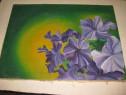 B294-I-Tablou flori de ,, nu ma uita'' in soare ulei/ panza