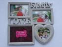 Rama foto, love family, 4 poze, alb vintage