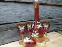 Sticla rosie cu 4 pahare