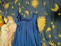 Rochie lunga albastra cu cordon