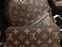 Set firmă portofel si rucsac, saculet LV inclus