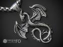 Medalion Colier Pandantiv Dragon Protector INOX - cod PND267