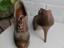 Pantofi stiletto cu siret, stil Oxford, piele naturala, mari