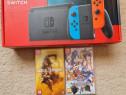 Nintendo Switch Red/Neon Blue cu MK11&Blazbure