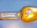 C897-Talanga metal Luxana cu floare de colt culoare bronz.