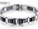 Brăţară Magnetică din INOX şi Cristal Hematit - cod BRA002