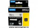Banda ID1, poliester permanent, 6 mm x 5,5 m, negru/transpar