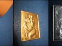 6369-Placheta mica vintage SF.Christodor metal aurit st. bun
