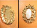 Brosa vintage Ovala Coroana Bronz aurit Frunze cu pietricele