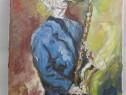 Saxofonul-pictura ulei pe panza