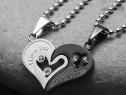 Lanturi 2 lantisoare doua inimi pereche pandantive cupluri