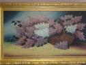 Tablou - Pictură în ulei pe pânză - Coș cu liliac