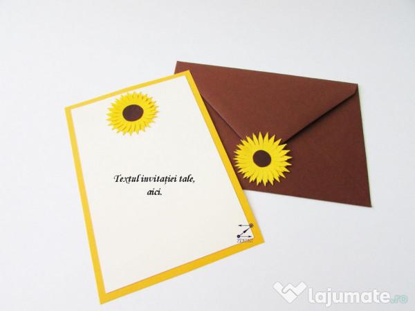 Invitatii Nunta Cu Floarea Soarelui 450 Ron Lajumatero