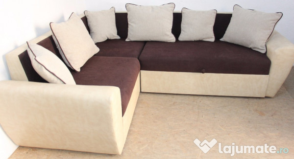 Coltar canapea extensibila pat dublu cu saltea si lada for Canapea pat