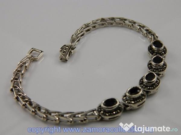 priză imagini noi din bun Bratara argint, onix si marcasite: BR218090, 330 lei - Lajumate.ro