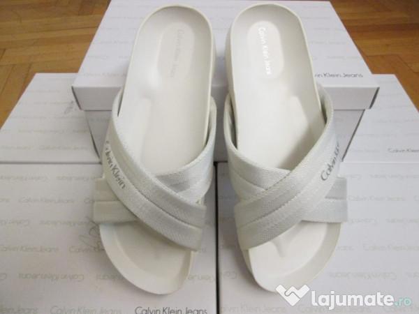papuci sandale albe barbatesti calvin klein noi. Black Bedroom Furniture Sets. Home Design Ideas