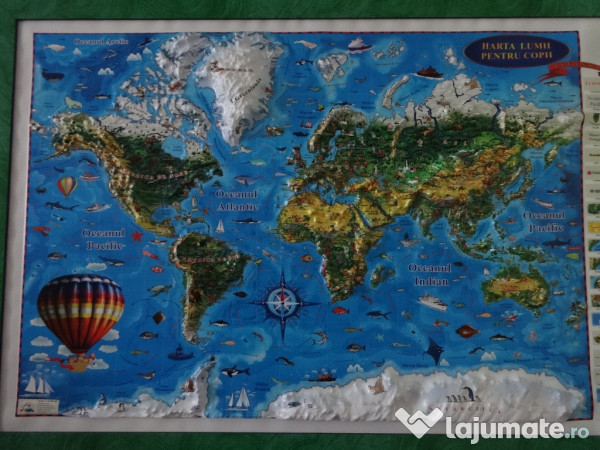 Ieftin Harta Lumii 3d Pentru Copii Proiecţie 3d 1000x700mm 280